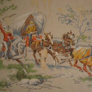 old wornout wallpaper with cowboys on it